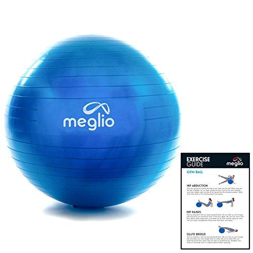 meglio Anti-Burst Gymnastikball, Rutschfester Gymnastikball fürs Training zu Hause, im Büro oder im Fitnessstudio, für Männer und Frauen, ideal für Yoga, Pilates, Fitness oder Geburtsvorbereitung