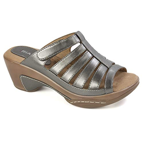 RIALTO Shoes Valencia Women's Sandal, Pewter/MET/Smooth, 8H M