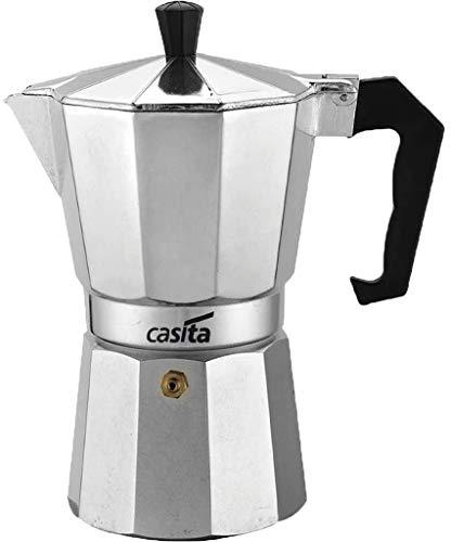 Cafeteira Italiana Moka Café Expresso Capacidade Para 6 Xícaras Bule 300ml Pequena Alumínio Casita Válvula De Segurança