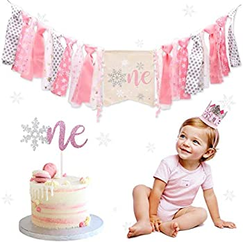 Winter Onederland Highchair Banner Snowflake One Cake Topper Pink & Silver Crown Hat For Baby Girls Winter First Birthday Party Decorations …
