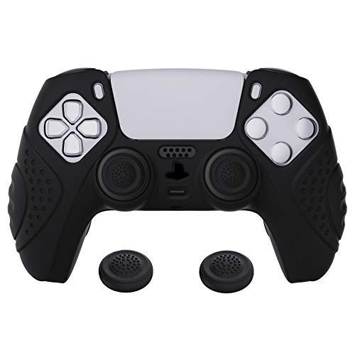 eXtremeRate PlayVital Cover Skin per PlayStation 5 Controller Joystick per PS5 Custodia Protettiva in Silicone Antiscivolo per DualSense con 2 Gommini Coprilevette Analogiche-Guardian(Nero)