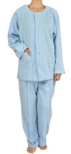 UNI 介護 パジャマ マジックテープ 前開き ラグラン袖 上下セット【 綿 100% 着脱簡単 入院 寝間着 】 お世話しやすい 負担軽減 着心地抜群 リハビリ ブルー (L)
