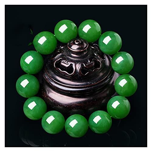 Pulsera de piedra de jade verde natural Hombres y mujeres 6 mm a 20 mm cuentas redondas Jade pulsera Joyas Regalos de la joyería Curación de la Piedra Ajuste del mal humor Spirits Dinero Dibujo Riquez