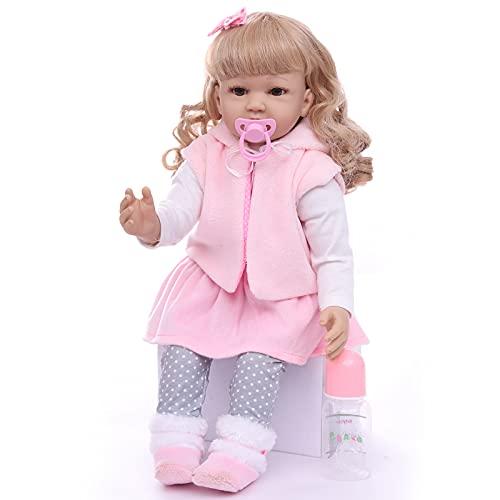 ZIYIUI 24 Pollici Simulazione Bambole Reborn 60 Cm Realistica Tutto in Silicone Bambola Reborn Capelli Ricci biondi Bambino Bambola Reborn Ragazza Ragazzo Regalo