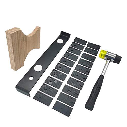 Yideng Kit de instalación de suelos de madera laminada con 20 espaciadores,Taco de madera, barra de tracción extendida y herramientas de montaje de piso de mazo de dos cabezas