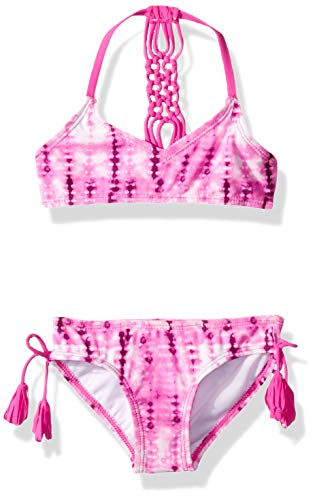 Kanu Surf Girls' Big V-Neck Bikini Beach Sport 2-Piece Swimsuits, Willow Pink Tie-Dye, 12