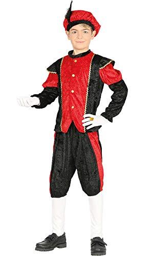 Disfraz de Paje Rojo y Negro para niño