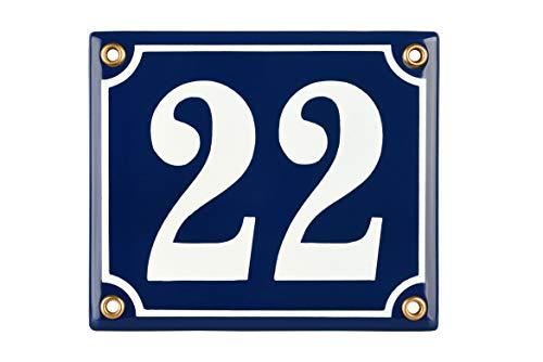 Sosenco Hausnummerschild Hausnummer - 12x14 cm - Keramik Emaille - Wetterfest - Personalisiert - Emailschild (Blau)