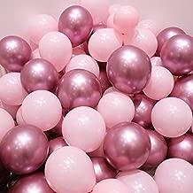 Pink and Gold Balloons,50 pcs Light Pink Balloons Pastel Pink Balloons Gold Metallic Balloons for Party Decorations, Christmas Decorations, Birthdays, Bridal Shower (Pink,Metallic Pink)
