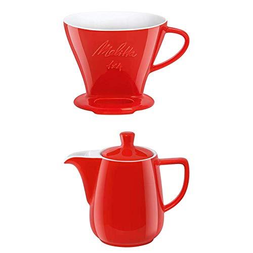 Melitta Filter Porzellan-Kaffeefilter Größe 1x4 Rot + Kanne Porzellan Kaffeekannee 0,6L Rot