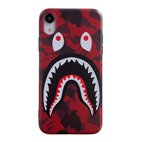 iPhone XR Street Fashion Shark Face Soft Case,IMD Tech Sleek Texture Anti-Scratch Ultra-Thin Shockproof Case for iPhone Xr 6.1inch (Camo Red)