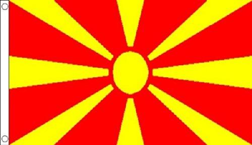 5ft X 3ft (150x 90cm) République de Macédoine drapeau Macédonien Matière 100% polyester bannière Idéal pour Pub Club école Festival Business Party Décoration