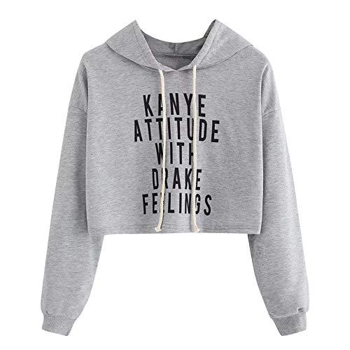 MOTOCO Frauen Hoodies Langarm Brief Pullover Beiläufiges Gestreiftes Sweatshirt Hoodie Jacke Mantel Kurzes Oberteil(L,J-Gray)