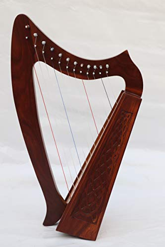Musical Instrument Celtic Irish Lever Harp 12 Strings Free Extra Strings and Tuning key
