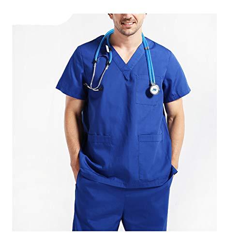 CX ECO Peelingsets Medizinische Uniform für Herren Unisex Krankenhaus Medizinische Arbeitskleidung Extrem weiche, atmungsaktive, Bequeme Oberteile mit V-Ausschnitt + Hosen,Blue,M