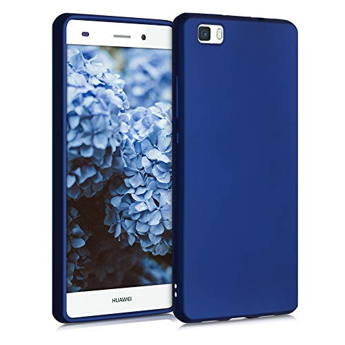 kwmobile Custodia Compatibile con Huawei P8 Lite (2015) - Cover Silicone TPU Effetto Metallizzato - Protezione Back Case Morbida Blu Metallizzato