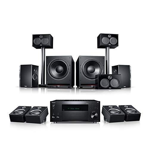 Teufel System 6 THX AVR für Dolby Atmos 5.2.4-Set Schwarz/Schwarz Heimkino Lautsprecher 5.1 Soundanlage Kino Raumklang Surround Subwoofer Movie