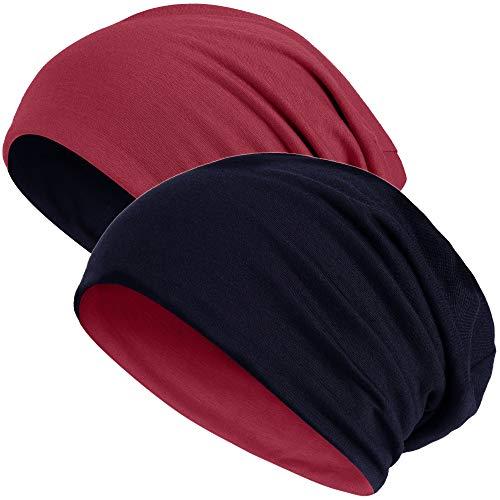 Hatstar 2in1 Reversible Damen Beanie | Damen und Herren Mütze | Wintermütze | weich & warm (dunkelrot/schwarz)