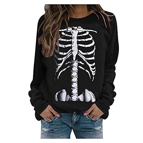 BOOMJIU Sudaderas sin Capucha para Mujer Halloween Pullover Manga Larga Fleece Skeleton Print Plus Size Pullover