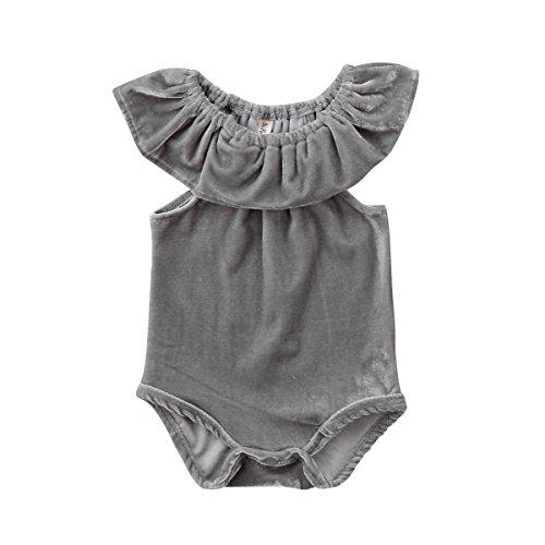 Newborn Baby Girls Velvet Ruffle Romper Toddler Kids Soft Bodysuit Jumpsuit (Grey, 0-6 Months)