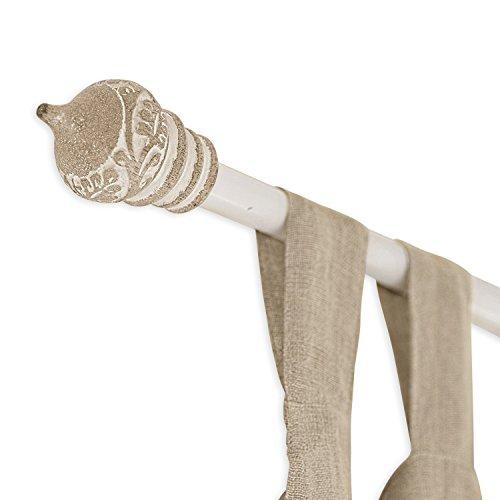 Loberon Gardinenstange Moriat, Eisen/Mangoholz, H ca. 224 cm, braun/Creme