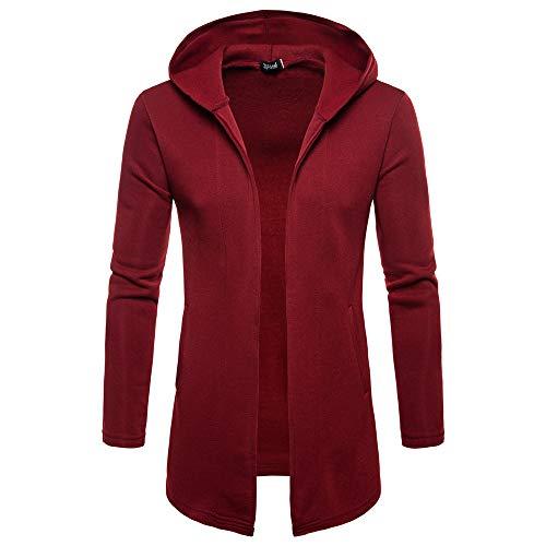 Sumeiwilly Herren Einfarbig Jacke Lange Mantel Pullover Pulli Kapuzenpulli Lang Cardigan Mantel Jacke Hoodie Sweatshirt