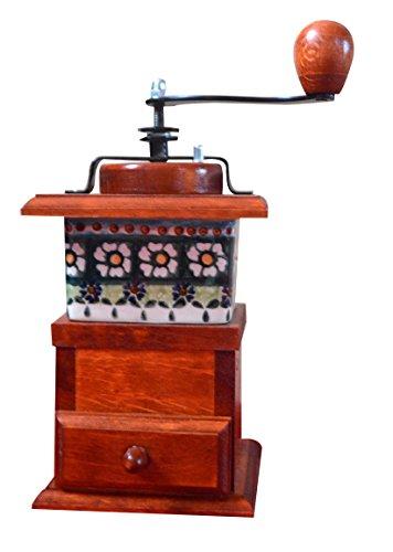Kaffeemühle aus massivem Holz, seitliche Handbohnen, gekrümmt, Braun