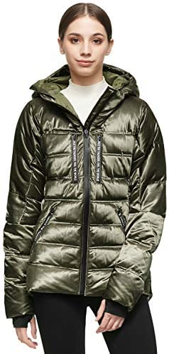 Orolay Women Warm Down Jacket with Hood Unique Quilting Coat Green XS product image