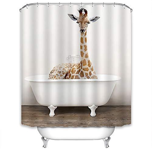 Xlabor Premium Tier Duschvorhang Wasserdicht Anti-Schimmel Stoff inkl. 12 Duschvorhangringe für Badezimmer Giraffe 240x200cm
