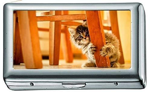 Tiere Katzen Kätzchen Babys Stuhl Pfoten Zigarettenetui / -schachtel Visitenkartenetui Edelstahlgehäuse Silber Metall Brieftasche Schutz
