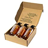 Nomara Organics Seifenspender-Set, 3 x 500 ml Braunglas. Auf Strohhalm verpackt, BPA-freie...