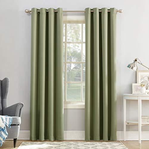 "Sun Zero Easton Blackout Energy Efficient Grommet Curtain Panel, 54"" x 63"", Sage Green"