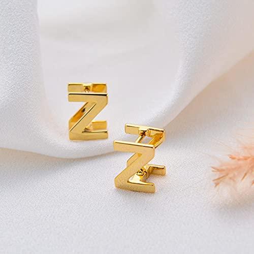 Pendientes con Letras Iniciales 26 AZ Pendientes con botón del Alfabeto inglés Color Dorado Puede Abrir la Placa de identificación Pendiente Estilo joyería