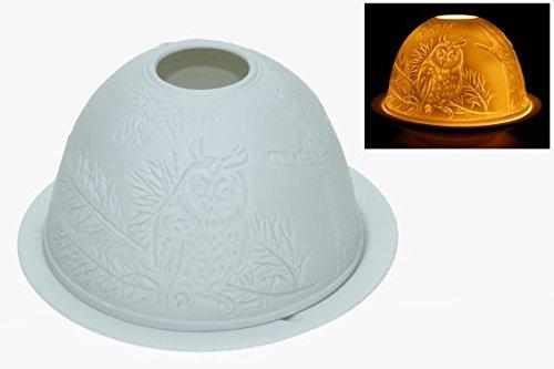 Windlicht Eulen Porzellan Tiere Teelichthalter Windlichter Teelichter Tier Deko Uhu