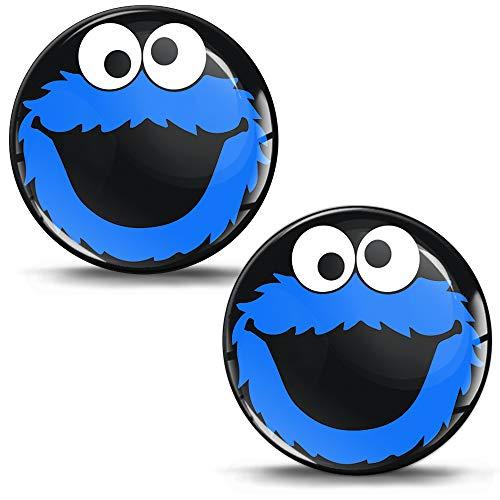 Biomar Labs® 2 x 3D Gel Pegatinas Silicona Stickers Adhesivo Autos Coches Motocicletas Ciclomotores Bicicletas Ordenador Portátil Negro Azul Elmo Cookie Monster KS 83