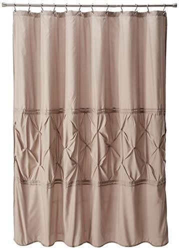 "Comfort Spaces Cavoy Bathroom Pintuck Shower Tufted Ruffle Pattern Modern Elegant Microfiber Fabric Bath Curtains, 72""x72"", Taupe,CS70-0100"