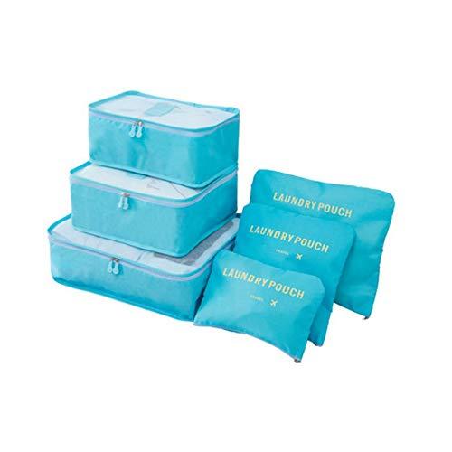 Mood Milano – Juego de organizador, maletín de viaje con zapatero, laundry bag, neceser, belleza y 2 bolsas azul claro
