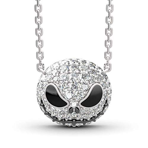 Jack Skellington Necklace for Women Nightmare Before Christmas Pendants Princess Anniversary Promise Gift for Women Bride Teen Girl (Necklace)