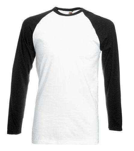 Fruit of the Loom Mens Contrast Baseball Long Sleeve T Shirt White/Black XXL