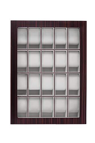 Uhrenbox für Wand 20 Uhren Holz mit Echtglas Uhrenvitrine Holzuhrenschatulle