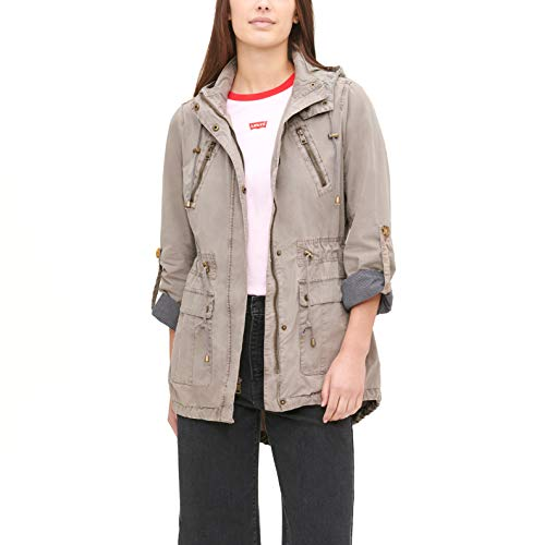 Levi's Women's Plus Cotton Hooded Anorak Jacket (Standard & Plus Sizes), Grey, 2X