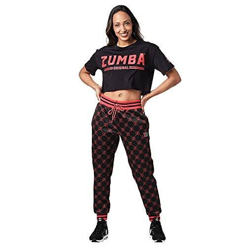 Zumba Elastico Palestra T Shirt da Allenamento Funzionale Ritagliate Graphic Design Sportiva Canottiera, Black Original, M