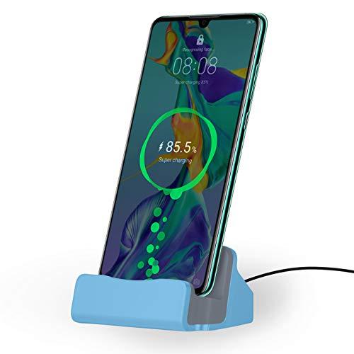 NessKa® Dockingstation [ inkl. 2 Meter USB Kabel ] Desktop Tisch Ladestation Ladegerät Ständer für Samsung Galaxy/Huawei/OnePlus/Xiaomi/Google/Sony/HTC/LG/ZTE/WIKO/Nokia   Blau