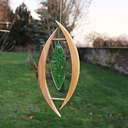 Fensterdeko aus Holz, Oliva mit grünem Glasstein, Fensterschmuck, handgemacht