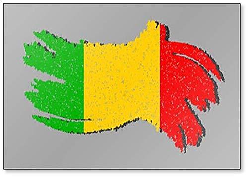 Mali Grunge Flagge, Mali Flagge mit Shadow Illustration Kühlschrankmagnet