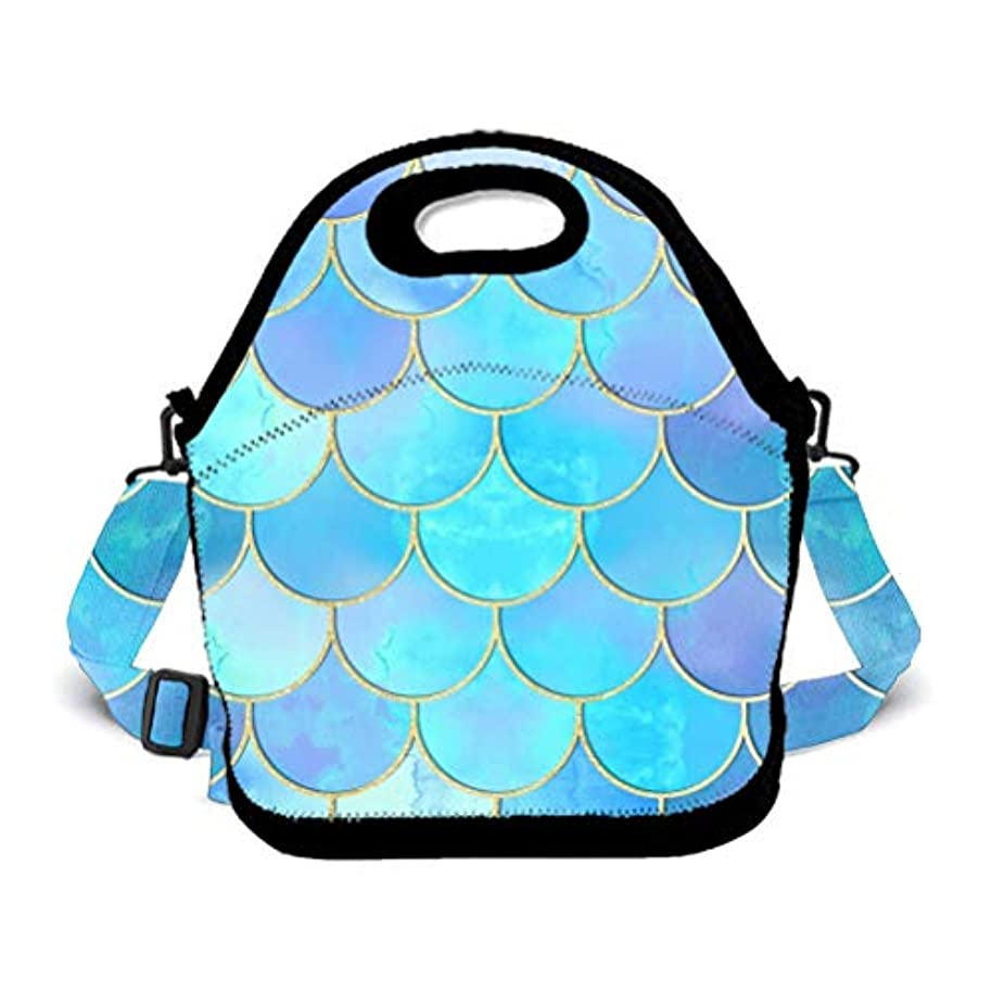 POP MKYTH Mermaid Fish Scales Insulated Lunch Box, Reusable Lunch Tote Bag/Cooler Box/Lunchbox/Picnic Bags/School Backpack/Travel Handbag for Office School Picnic Camping