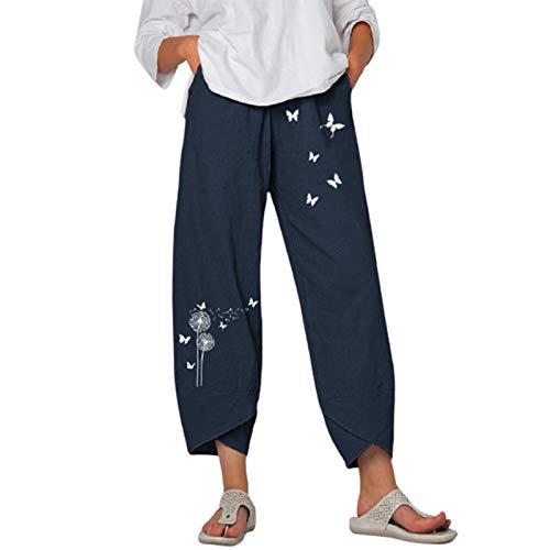 ADYD Pantalones cortos de lino casual de las mujeres de color sólido holgados cintura alta pantalones anchos de pierna