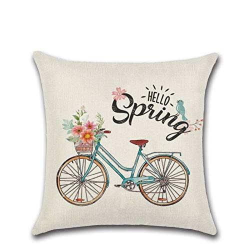 Linen Series Zl-07 Pink Cute Truck Spring Printed Cushion Cover Throw Pillow Cover Room Decoration for Home Car Sofa Sofa