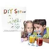 Funny Novelty DIY Drinking Straw 30pcs, Children Playing Game Straws, Creative Building Drinking Straws For Kids With Paper Box Packing