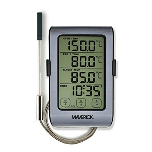 Maverick ET-851 Touch Screen 2-in-1 Oven Roasting Digital Instant Read Cooking Kitchen Grilling Smoker BBQ Meat Wireless Probe Thermometer Timer, Silver